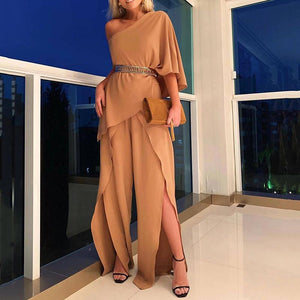 Casual Irregular Sloping Shoulder Ruffled Splicing Suit