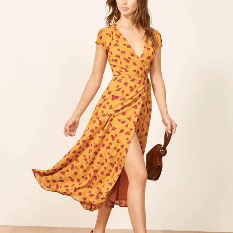 Fashion Print V-Neck Short Sleeves Dress