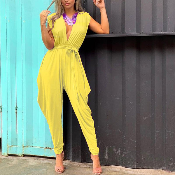 Sexy V Collar Sleeveless Solid Color Jumpsuits
