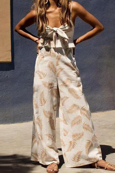 Fashion Casual Sling Leaf Print Jumpsuit
