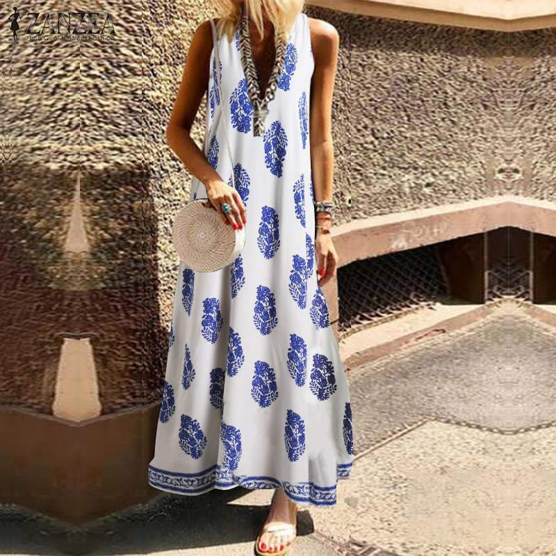 Summer Long Dress Sleeveless Leaf Print Retro Evening Dress Beach Skirt