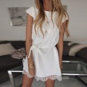 Short Sleeve Loose Round Neck   Solid Color Lace Dress