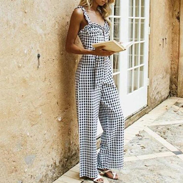 Sling Thin Black And White Plaid Jumpsuit