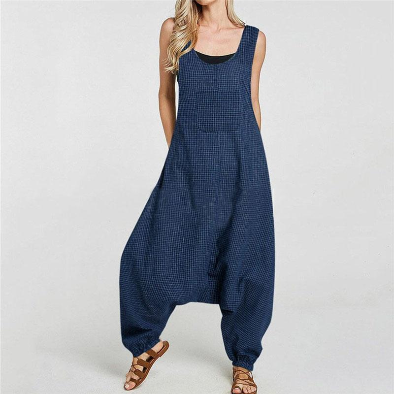 STYLISHPOP Women's Pocket Collage Loose Sleeveless Hip Hop Jumpsuits