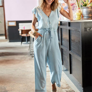 Sexy V-Neck Single-Breasted Ruffled Sleeves Jumpsuits