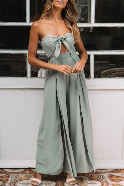 Fashion Holiday Style Slim Tube   Top Jumpsuit
