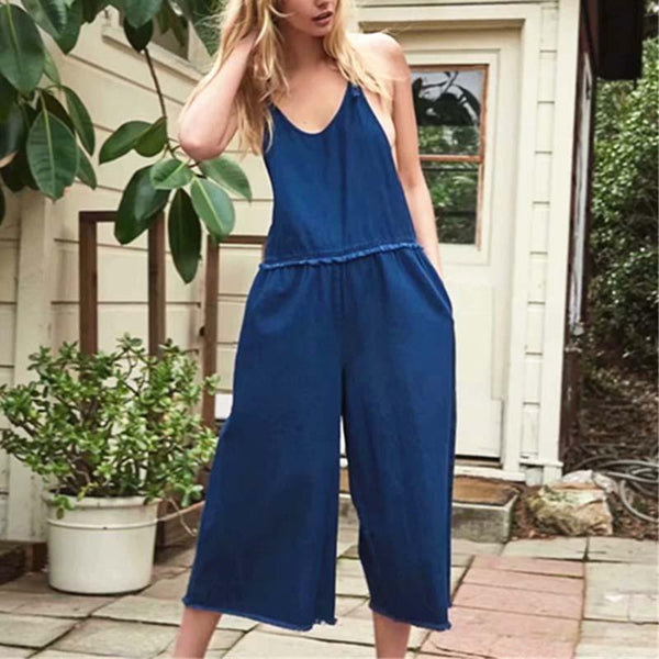Summer Sexy Sling Denim Overalls Tassel Wide Leg Cropped Trousers Jumpsuit