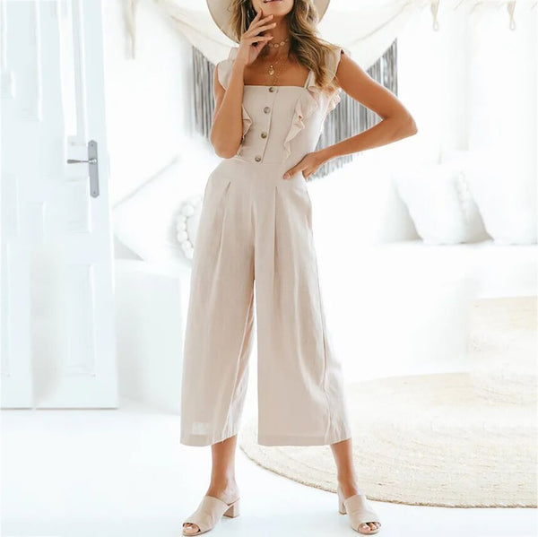 Fashion Classy Pure Colour Button Embellished Jumpsuit