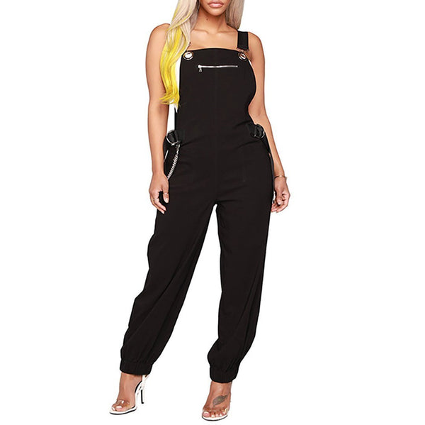 Fashion Casual Metallic Style Suspenders Jumpsuit