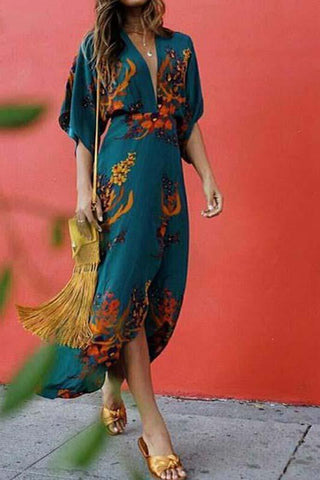 Boho Printed Colour Split V Neck Casual Maxi Dress