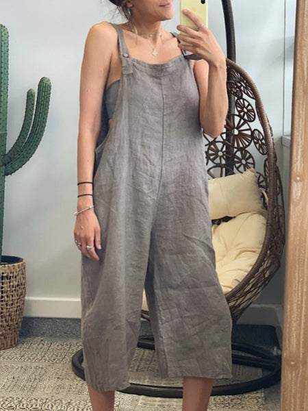 Linen Solid Women Jumpsuits With Pockets