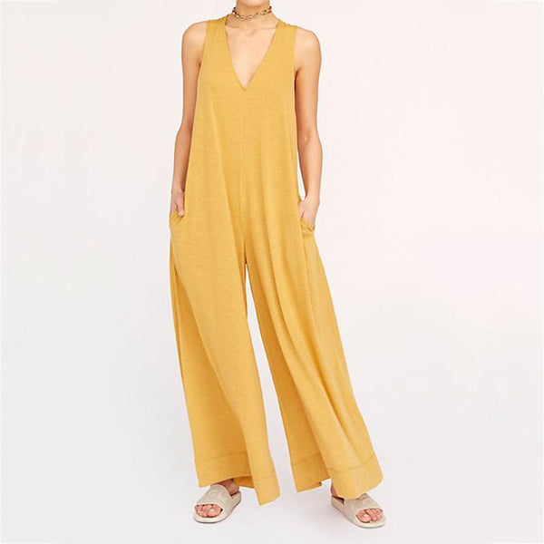 Classy V Neck  Sleeveless Pure Colour Jumpsuits