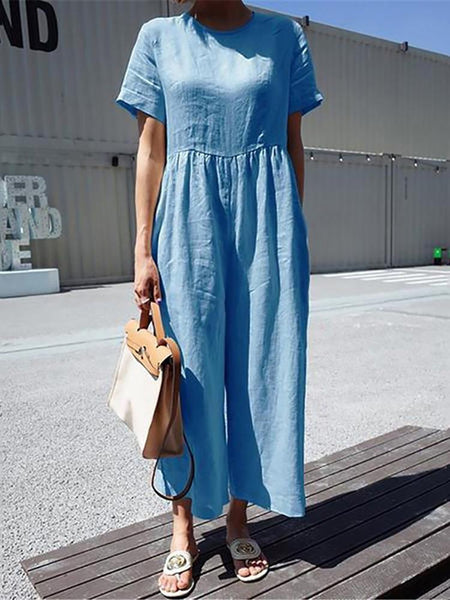 Commuting Round Neck Short Sleeve Pure Colour Jumpsuit
