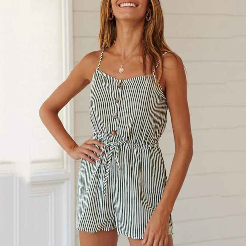 Women's Striped Sling Sleeveless Halter Jumpsuit