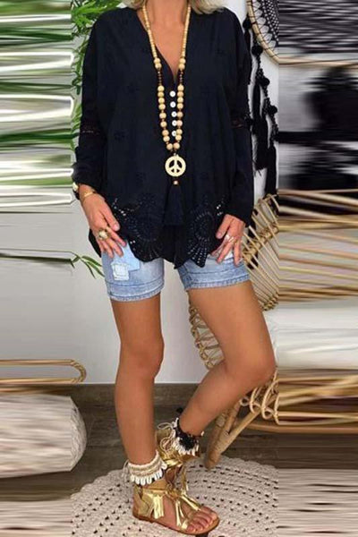 Women's V-Neck Lace Stitching Openwork Loose Long-Sleeved Shirts