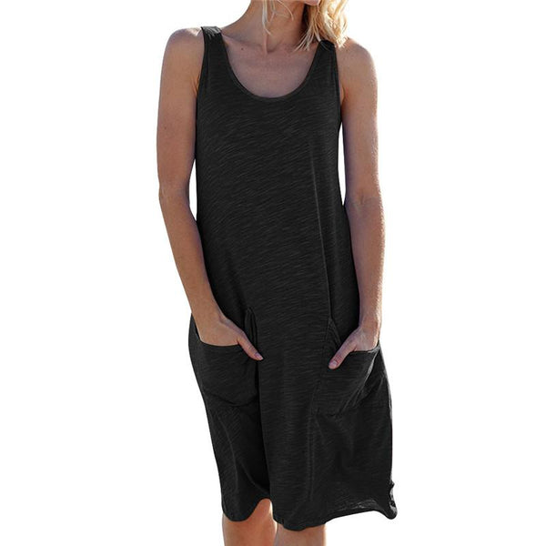 Women's Round Neck Sleeveless Pocket Collage Loose Dresses