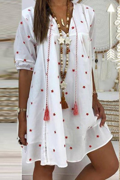 Women's V-Neck Star Printed Five-Points Sleeve Loose Dresses