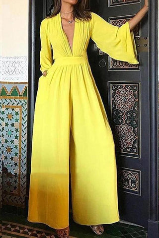 Fashion V Neck Long Sleeve Pure Colour Jumpsuit