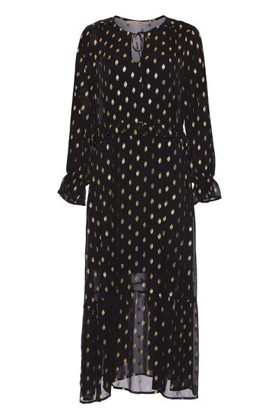 Romantic Fashion V-Neck Metallic Color Dot Printed Long-Sleeved Slim Dresses