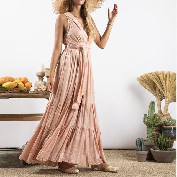 Fashionable V-Neck Belt Waist Pure Color Pleated Dress