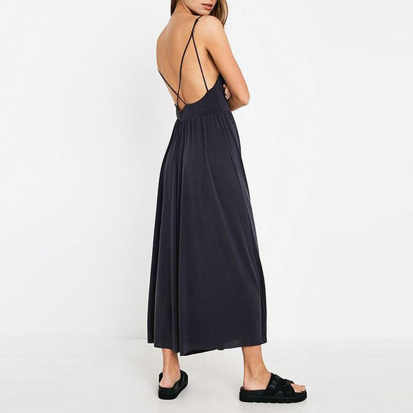 Pure  Colour Deep V Sexy Open Shoulder Hanging Belt Wide Leg Jumpsuit