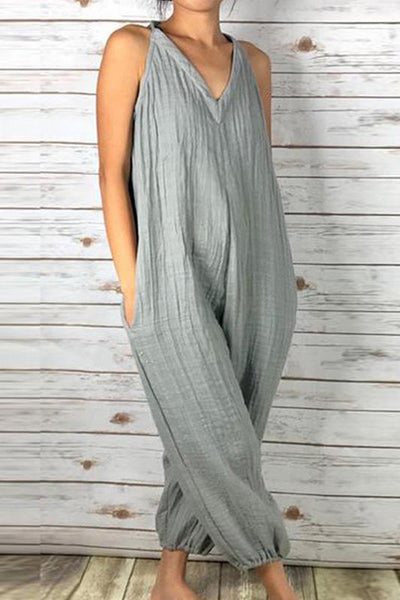 Fashionable Loose V-Neck Solid Color Jumpsuit