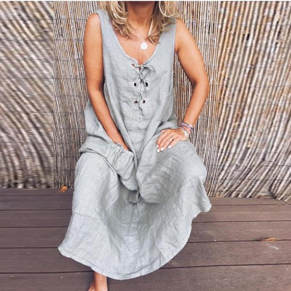 Casual Lace-Up Sleeveless Solid Color Dress