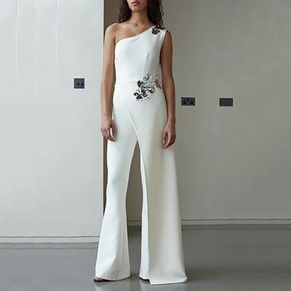Fashion Sloping Shoulder Pure Colour High-Waist Suit