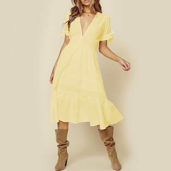 Elegant V Neck Pure Colour Short Sleeve High-Waist Loose Dress