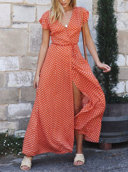 STYLISHPOP Fashion Casual V Neck Polka Dot Belted Dress