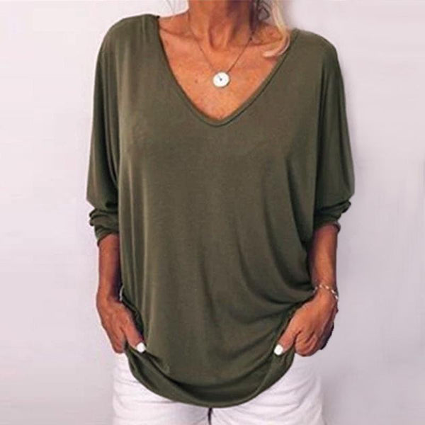 Athleisure Single-Breasted Bracelet Sleeve V Neck Pure Colour Top