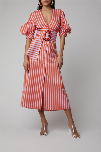 Women's Fashion V-Neck Puff Sleeve Striped Dress