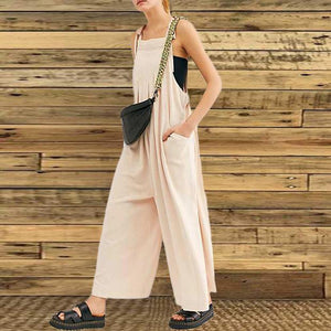 Women's Simple Solid Color Sleeveless Jumpsuit