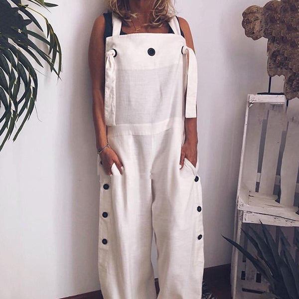 STYLISHPOP Sportive Pure Colour Loose Sleeveless Loose Jumpsuit