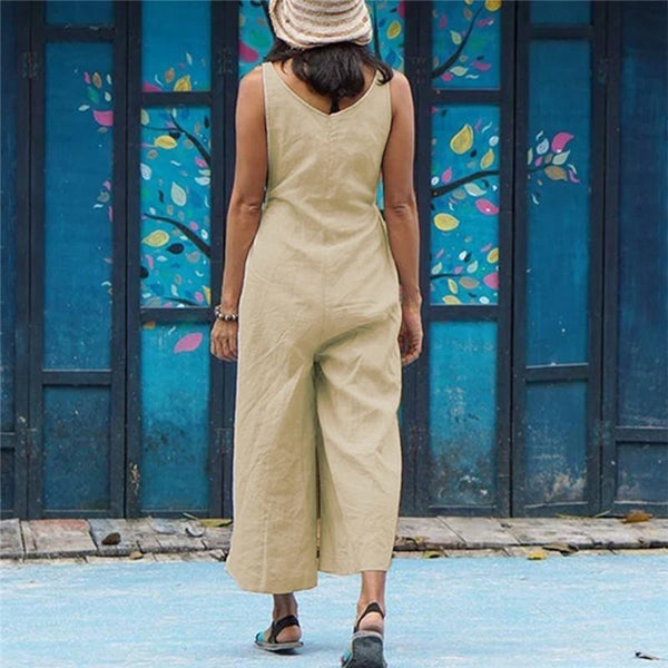 Solid Color Casual Drawstring Strapless Sleeveless Wide Leg Jumpsuit