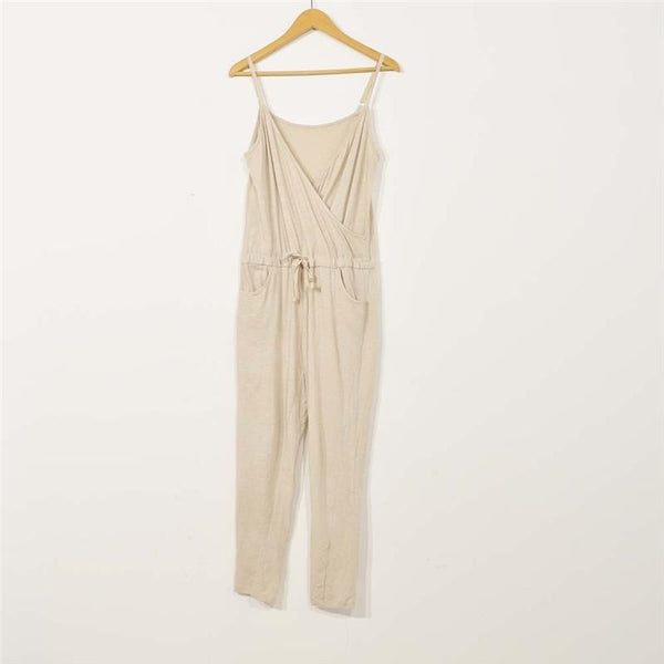 STYLISHPOP Solid Color Sling Drawstring Jumpsuit