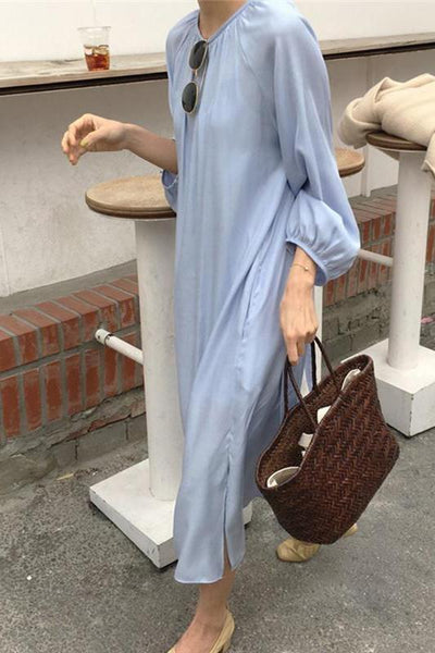 Round Collar Loose Lantern Sleeve Long Sleeve Forked Dress
