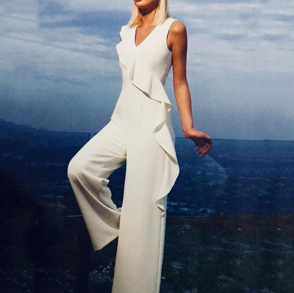 Women's Elegant Simple Solid Color Ruffled Jumpsuit