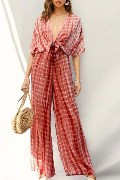 Sexy V Neck Batwing Sleeve Stripe Jumpsuit