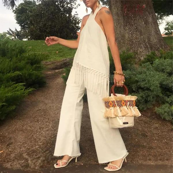 Sexy Halter Solid Color Tassel Loose Jumpsuits
