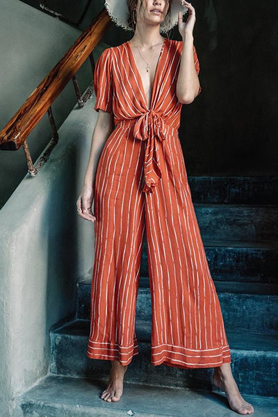 Classy V Neck Striped Lace-Up Jumpsuits