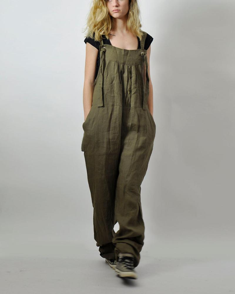Leisure Style Pure-Color Loose Sling Jumpsuit