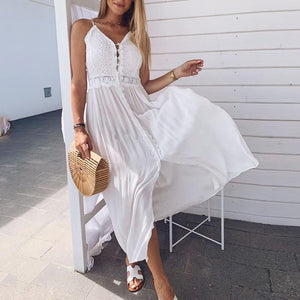 Sexy Chest Strap With Split Solid Color Dress