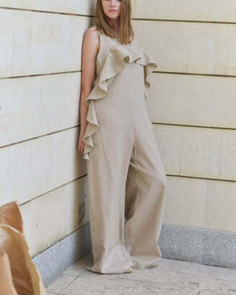 Pure Color Open-Back Flounce Loose Wide Leg Jumpsuit