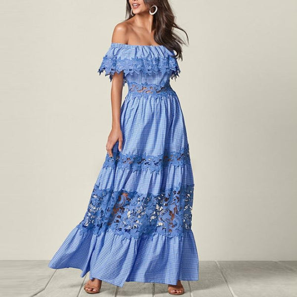Fashion Word Shoulder Lace Pleated Dress