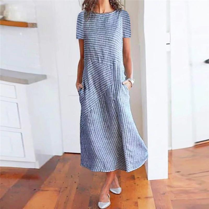 Casual Fashion Round Neck Striped Stitching Short Sleeve Dresses