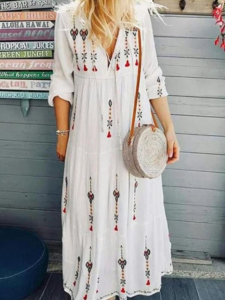 V-Neck Mid Sleeve Long Dress