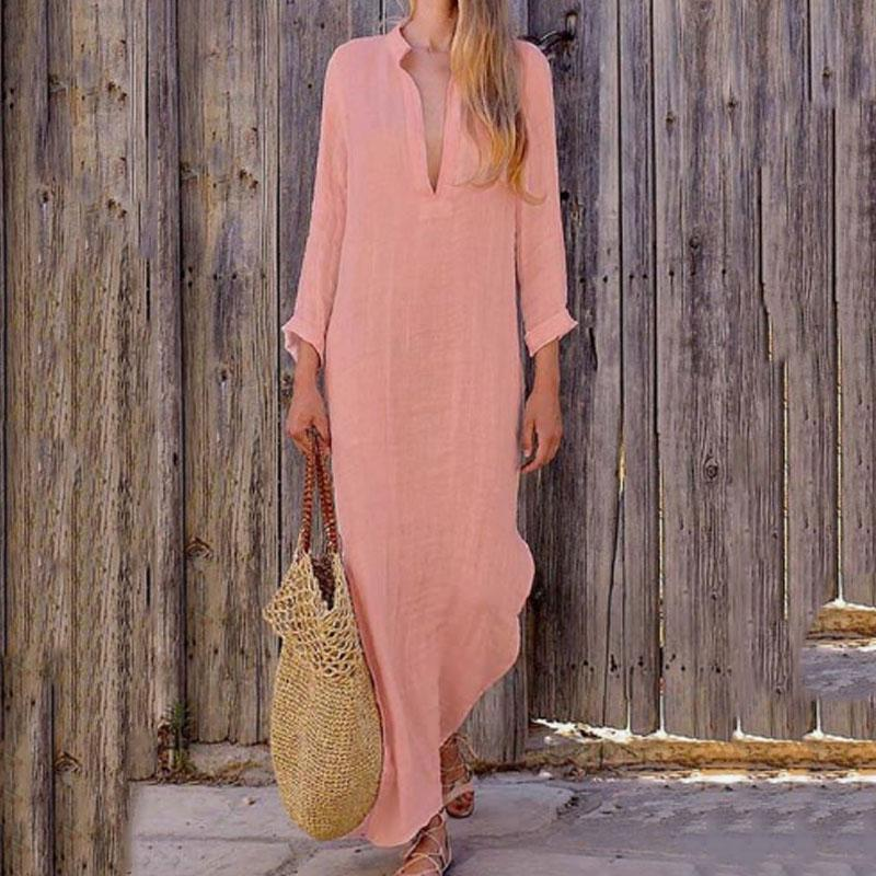 Solid Color V-Neck Long Sleeve Dress