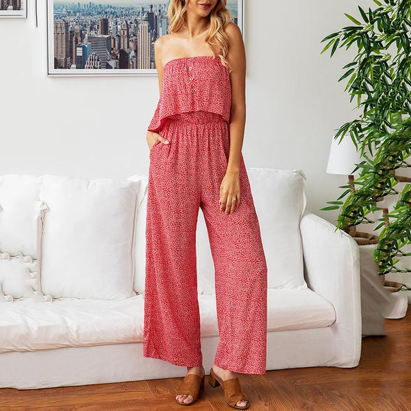 Classy Floral Pattern Strapless Jumpsuits