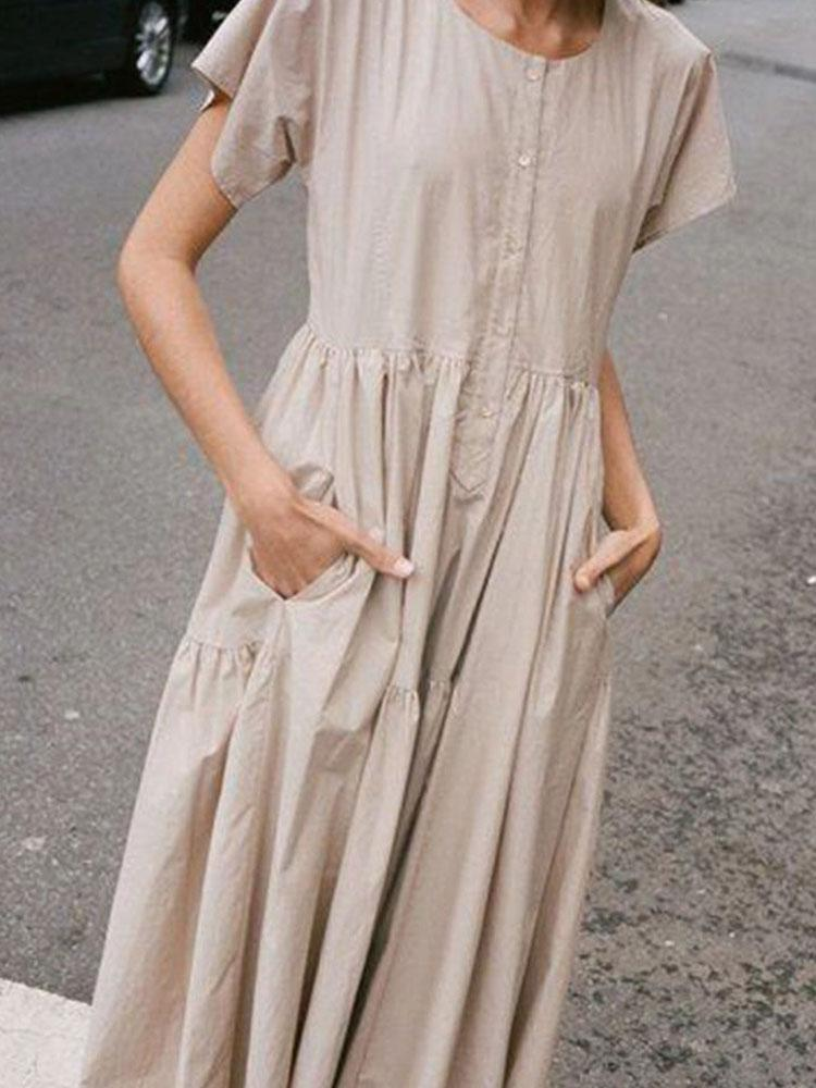 Round Neck Short Sleeve Waist Dress